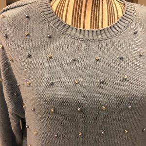 INC International Concepts Sweaters - INC Blue Sweater with Pearls NWT